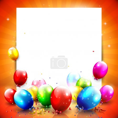 Illustration for Colorful birthday background with empty paper and balloon - Royalty Free Image