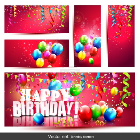 Illustration for Vector set of five colorful birthday banners with confetti and balloons - Royalty Free Image