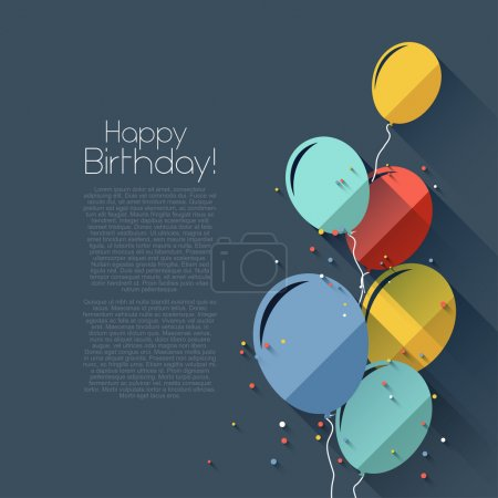 Illustration for Colorful birthday background in flat design styl - Royalty Free Image