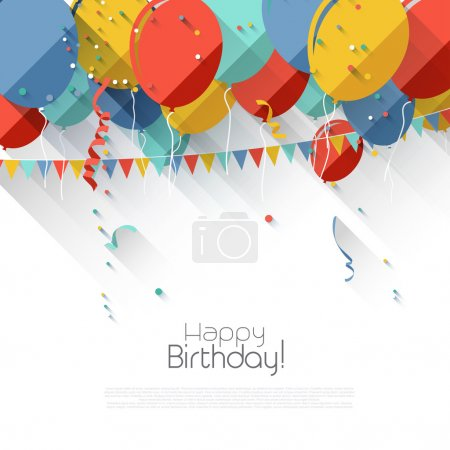 Illustration for Colorful birthday background with flying balloons and copyspace in flat design style - Royalty Free Image