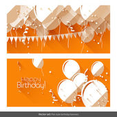 Vector set of flat birthday banners with balloons on orange backgroun