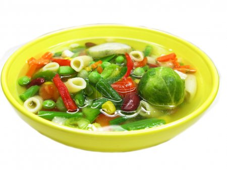 Photo for Vegetable soup with pepper tomato beans and pasta - Royalty Free Image