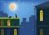 Сats in the moonlight on the roofs of the city