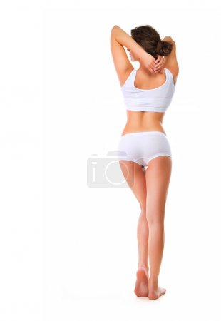 Rear View of Perfect Slim Body. Full length portrait