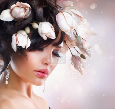 Photo for Fashion Brunette Girl with Magnolia. Hairstyle - Royalty Free Image