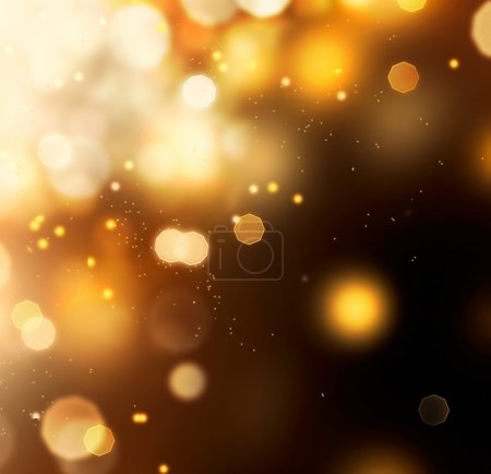 Photo for Golden Abstract Bokeh Background. Gold Dust over Black - Royalty Free Image