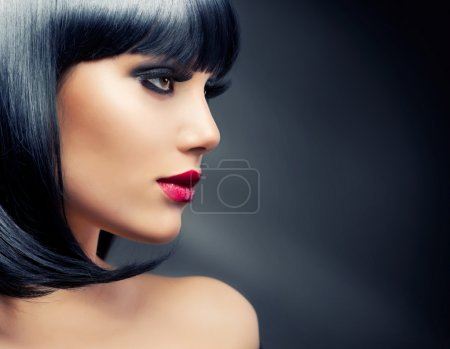 Photo for Beautiful Brunette Girl. Healthy Black Hair - Royalty Free Image
