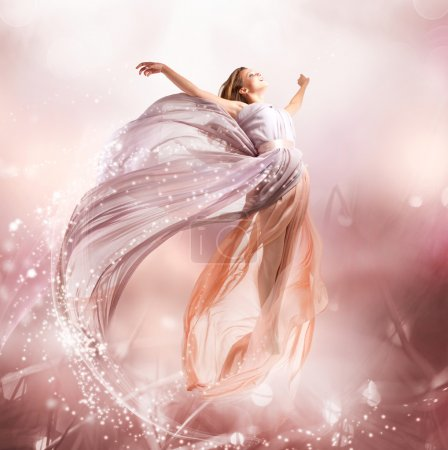 Photo for Fairy. Beautiful Girl in Blowing Dress Flying. Magic - Royalty Free Image