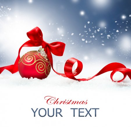 Photo for Christmas Holiday Background with Red Bauble and Snow - Royalty Free Image