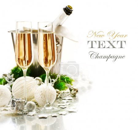 Photo for New Year Celebration. Two Champagne Glasses - Royalty Free Image