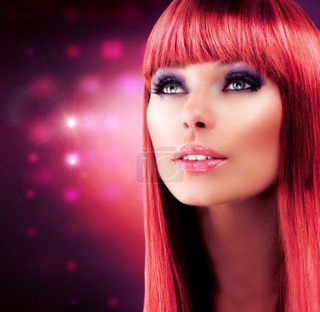 Photo for Red Haired Model Portrait. Beautiful Girl with Long Healthy Hair - Royalty Free Image