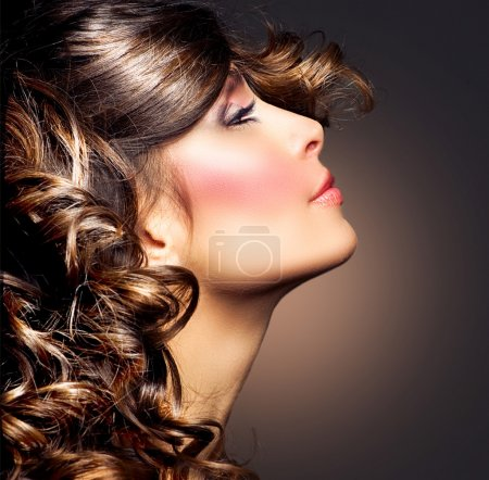 Photo for Beauty Woman Portrait. Curly Hair. Brunette Girl - Royalty Free Image