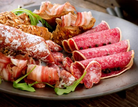 Photo for Sausage. Various Italian Ham, Salami and Bacon. Meat Food - Royalty Free Image
