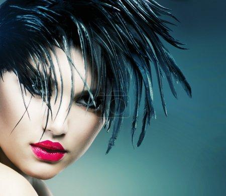 Photo pour Mode portrait d'art de belle fille. femme de style vogue - image libre de droit