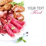 Sausage. Italian Ham, Salami and Bacon isolated on...
