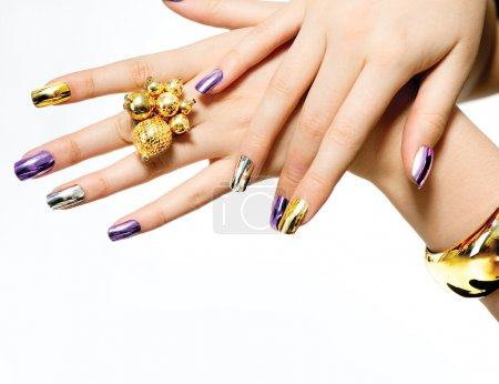 Manicure. Fashion Metallic Nail polish