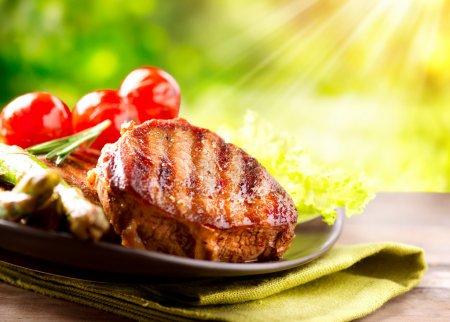 Photo for Grilled Beef Steak Meat - Royalty Free Image