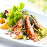 Salad With Smoked Eel with Unagi Sauce. Japanese F...