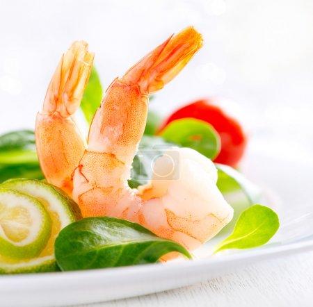 Prawn salad. Healthy Shrimp Salad with mixed greens and tomatoes