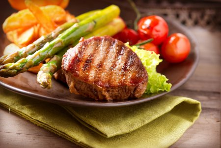 Photo for Grilled Beef Steak Meat with Vegetables - Royalty Free Image