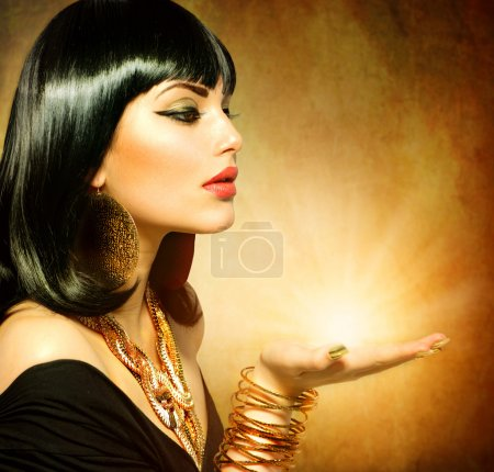 Egyptian Style Woman with Magic Light in Her Hand...