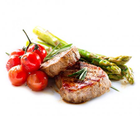 Photo for Grilled Beef Steak Meat over White - Royalty Free Image