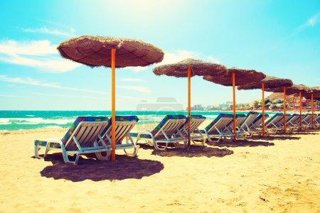 Vacation Concept. Spain. Beach Costa del Sol. Mediterranean Sea