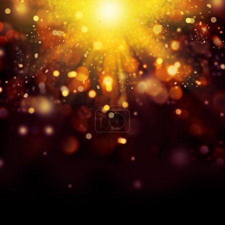Photo for Gold Festive Christmas background. Golden Abstract Bokeh - Royalty Free Image