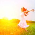 Enjoyment. Free Happy Woman Enjoying Nature. Girl ...