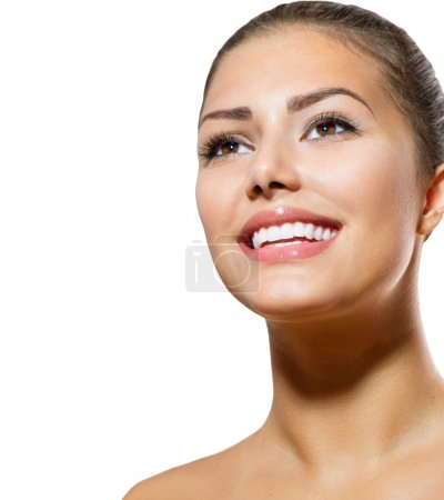 Photo for Teeth Whitening. Beautiful Smiling Young Woman Portrait - Royalty Free Image