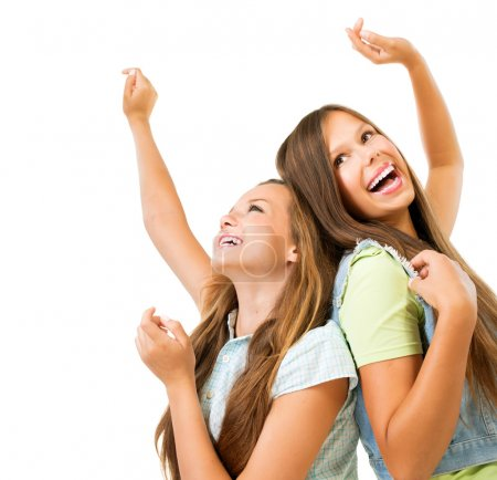 Happy Teenage Girls Dancing. Beauty Teenagers Having Fun