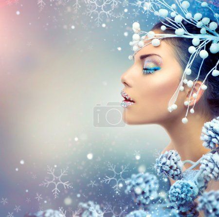 Photo pour Winter Beauty Woman. Fille de Noël maquillage - image libre de droit