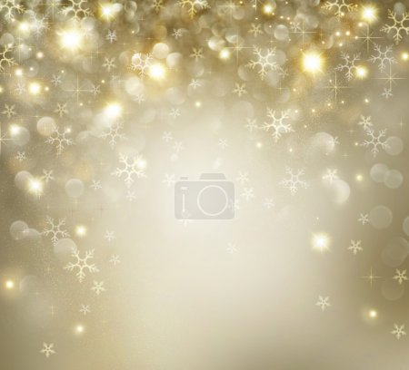 Photo for Golden Christmas Holiday Background With Blinking Stars - Royalty Free Image