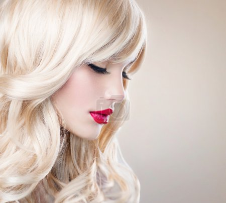 Photo for Beautiful Blond Girl with Healthy Long Wavy Hair. White Hair - Royalty Free Image