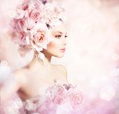 """Постер, картина, фотообои """"девочка модели красоты моды с цветочными волосами. невеста"""""""
