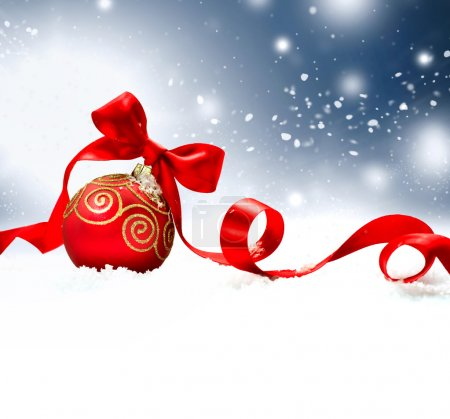 Christmas Holiday Background with Red Bauble, Ribbon, Snow and S