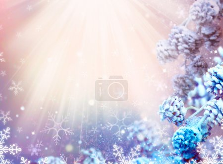 Photo for Winter Holiday Christmas and New Year Snow Background - Royalty Free Image