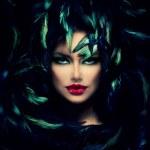 Mysterious Woman Portrait. Beautiful Model Woman F...