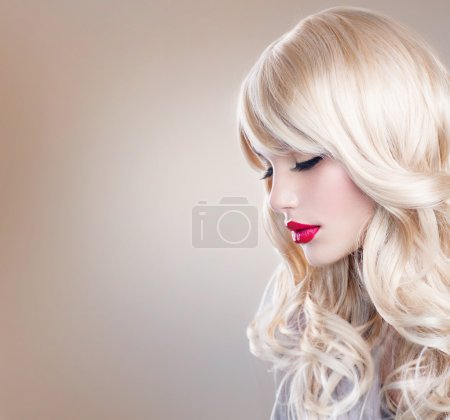 Photo for Blonde Woman Portrait. Beautiful Blond Girl with Long Wavy Hair - Royalty Free Image