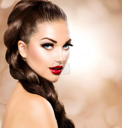 Photo for Hair Braid. Beautiful Woman with Healthy Long Brown Hair - Royalty Free Image
