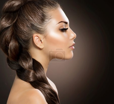Photo for Hair Braid. Beautiful Woman with Healthy Long Hair - Royalty Free Image