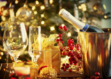 Photo for Christmas And New Year Holiday Table Setting. Celebration - Royalty Free Image