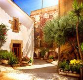 Spain, Catalunya, Barcelona. Street of Old Mediterranean Town