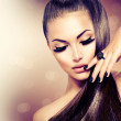 Beauty Fashion Model Girl with Long Healthy Brown ...