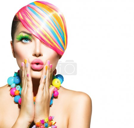 Photo for Beauty Woman with Colorful Makeup, Hair, Nails and Accessories - Royalty Free Image