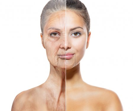 Photo for Aging and Skincare Concept. Faces of Young and Old Women - Royalty Free Image