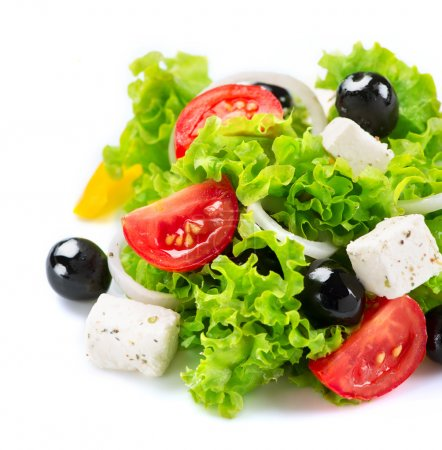 Photo for Mediterranean Salad. Greek Salad isolated on a White Background - Royalty Free Image