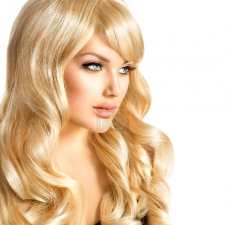 Photo for Beauty Blonde Woman. Beautiful girl with long curly blond hair - Royalty Free Image