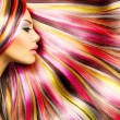 Beauty Fashion Model Girl with Colorful Dyed Hair...