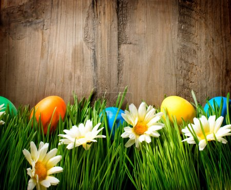 Easter. Colorful Easter Painted Eggs in Spring Grass